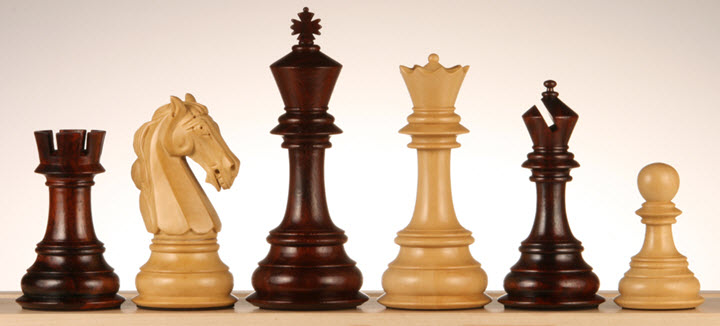 Columbian Knight Bud Rosewood Chess Pieces
