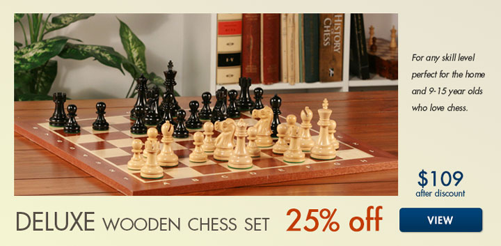 25% off Deluxe Wooden Chess Set by ChessHouse.com
